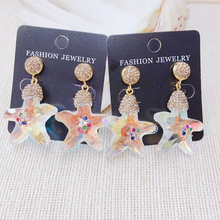 24K Gold Rhinestone Crystal Star Earring Shinny Colorful Long Dangle  For Lady Woman 1pairs