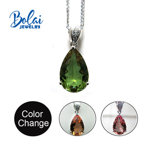 Image 1 - Bolai jewelry,Zultanite  diaspore pear 10*15mm created gemstone pendant  925 sterling silver exquisite ornaments