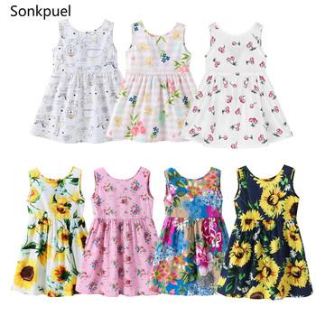 Elegancka sukienka dla dziewczynek w wieku 1-7 lat sukienki dziecięce ze wzorem letnia suknia księżniczki na przyjęcie dla dzieci bal konkurs piękności tanie i dobre opinie Sonkpuel Dziewczyny COTTON 7-12m 13-24m 25-36m 4-6y CN (pochodzenie) Lato Do kolan O-neck REGULAR bez rękawów Śliczne