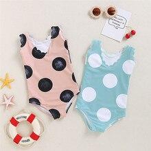 цена на 2020 Baby Girl Bikini Set Swimwear Fruit Bownot Dot BIkini set One piece Strappy Ruffled Swimming Swimsuit Costume Bathing