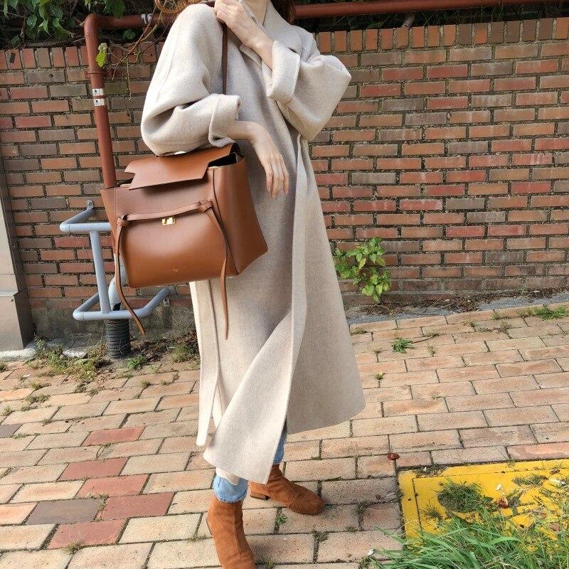 19 Winter Oversize Long Trench Coat Women Cashmere Coat Korean Lady Windbreaker Outwear Streetwear 60