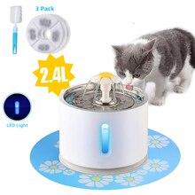 Питомец кошачий фонтан 2.4L питьевой окно светодиодный автоматический собака кошка питьевой чаша USB питомец питьевой диспенсер с 3 картонными фильтрами