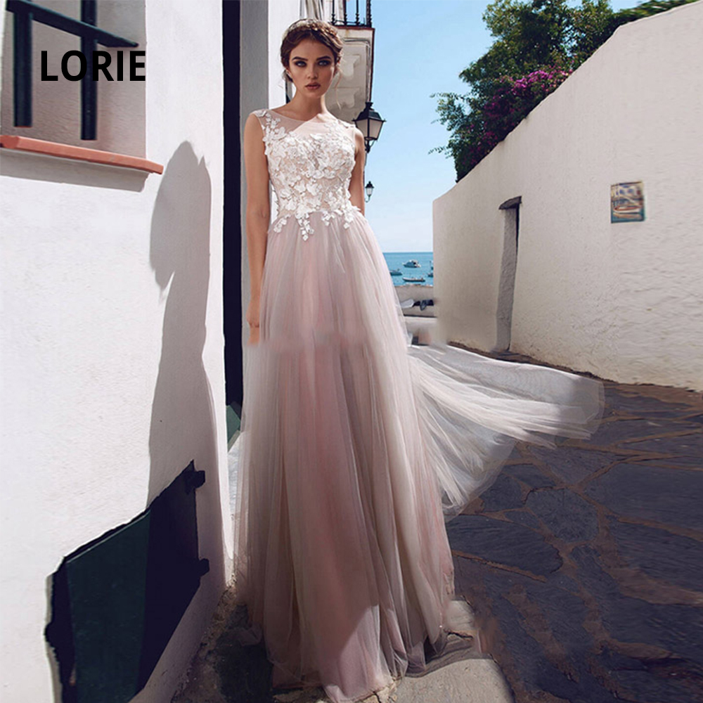 LORIE Elegant Lace Appliqued Wedding Gowns Boho 2020 Sleeveless Soft Tulle Princess Beach Bridal Dresses A-line Plus Size
