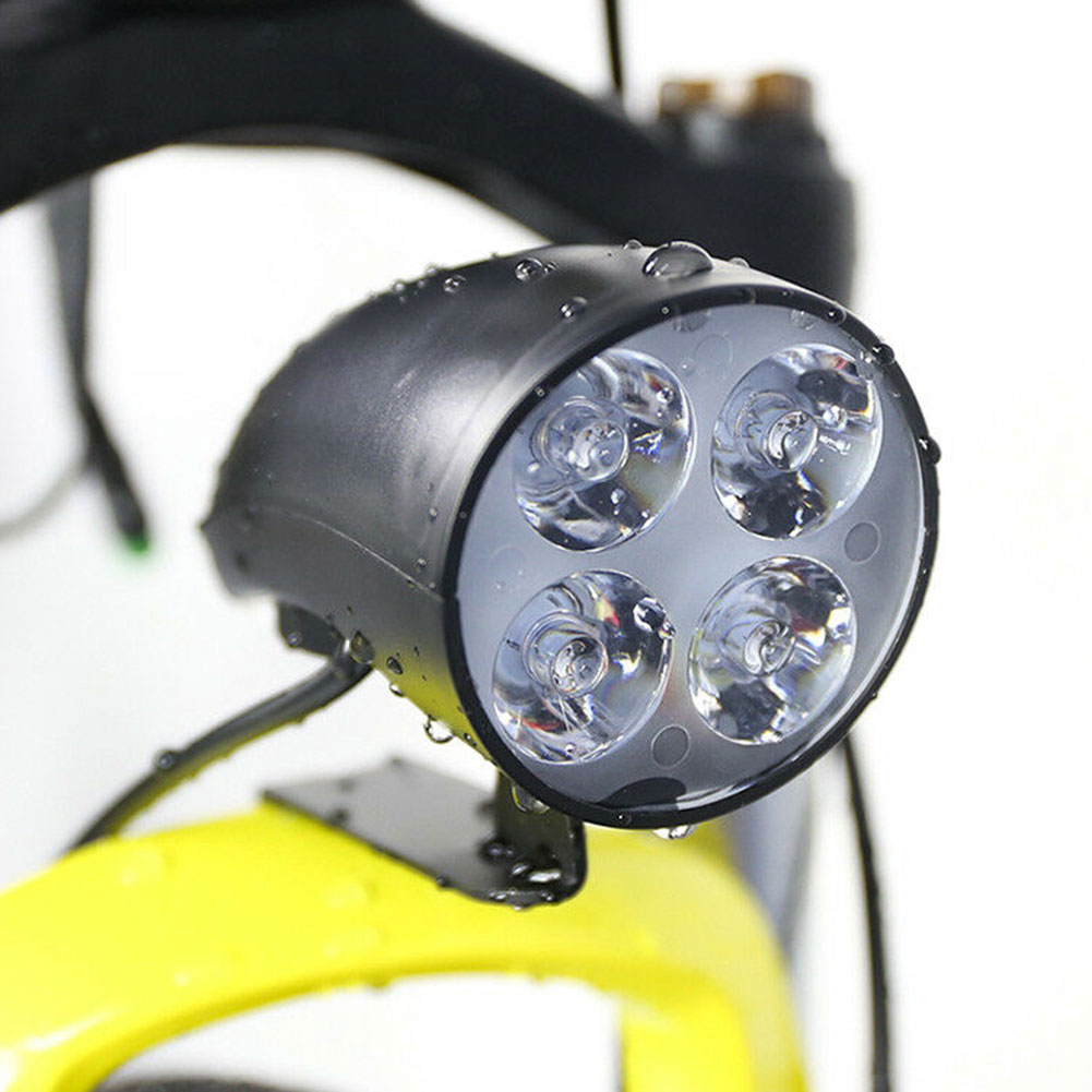 36-48V Cycling Bicycle Lamp 2 In 1 Bike Safety Front Riding 4 LEDS With Horn Electric Scooter Headlight Night Parts Accessories