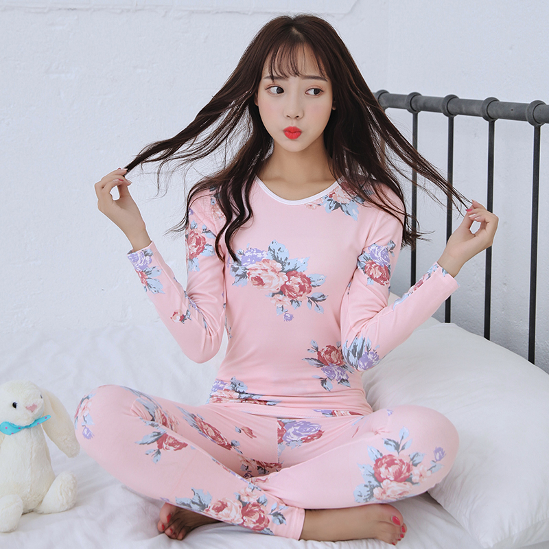 Fashion O-neck Sexy Slim Warm Long Johns Ladies Pink Printing Underwears Sets Bottoming Women Tunic Winter Warm Women Underwear
