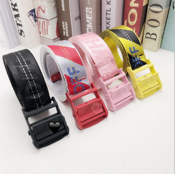 Hot-selling Wild Correct Version  White Canvas Belt Factory Direct Sales All Black Pure Pink Red