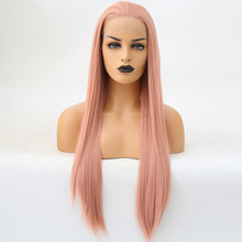 RONGDUOYI Long Orange High Temperature Fiber Hair Synthetic Lace Front Wigs for Women Free Part 24Inch Silky Straight Lace Wig