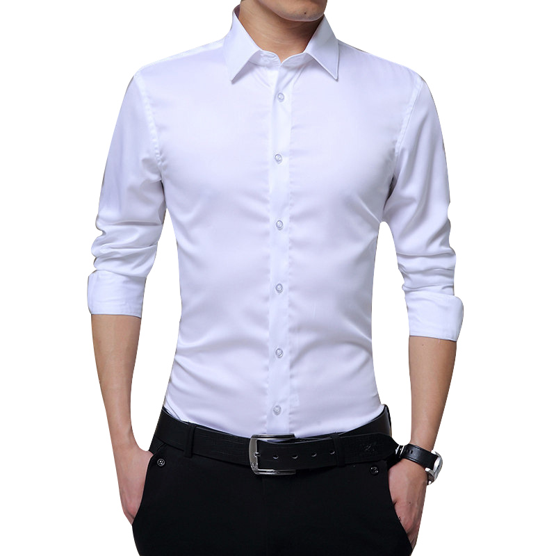 Men Long Sleeve Shirts Slim Fit Solid Business Formal Shirts For Autumn HSJ88