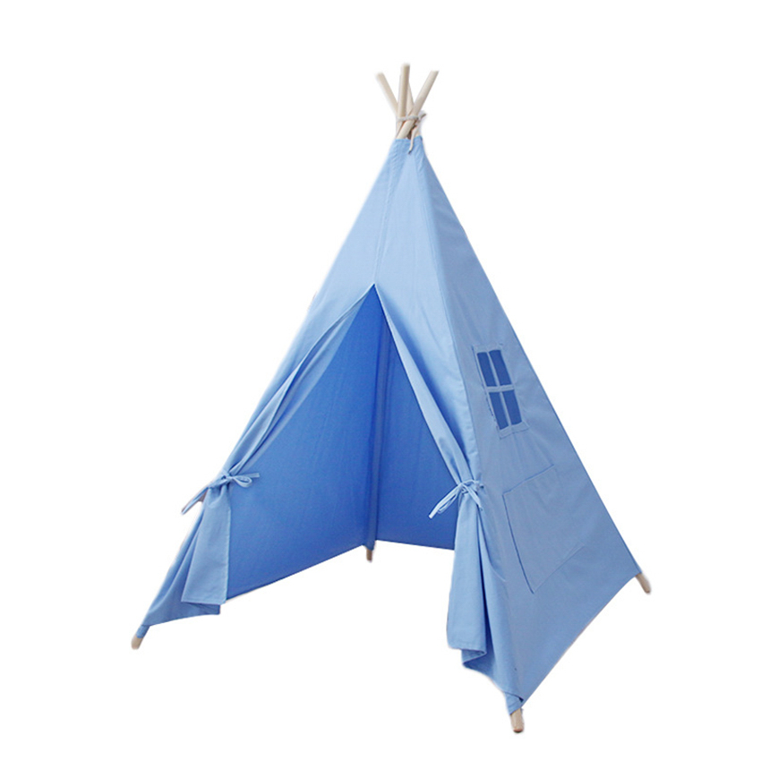 Pure Color Children Tent Wooden Support Indoor Toy House Cotton Canvas Game House Removable Parent-Child Interactive Fairy House