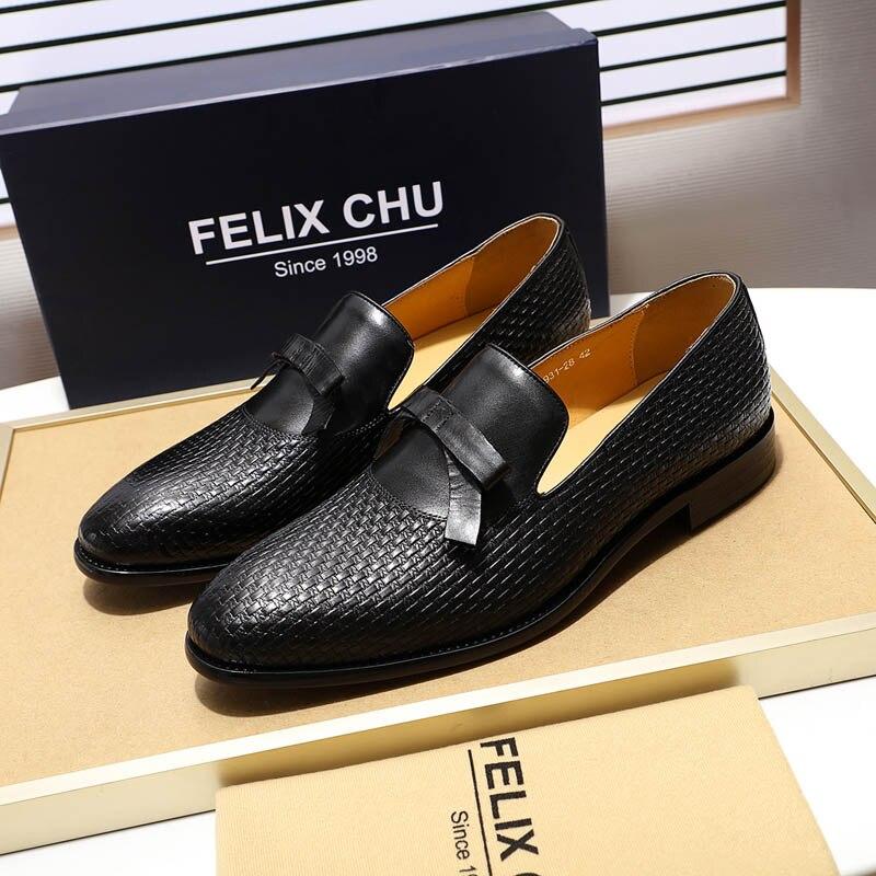 FELIX CHU/модные мужские свадебные лоферы из натуральной кожи с бантом; цвет коричневый, черный; комфортные классические туфли; мужская повседн... - 4