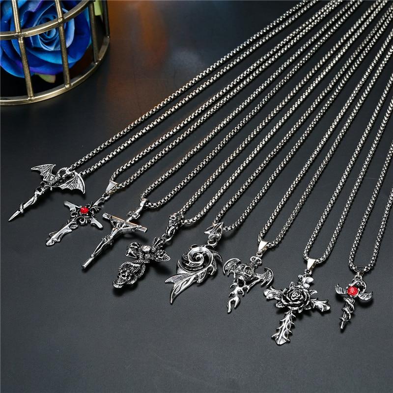 1PC Punk Vintage Metal Rose Cross Skeleton Necklace Personality Gothic Red Zircon Sword Pendant Necklace Women Men Jewelry N70
