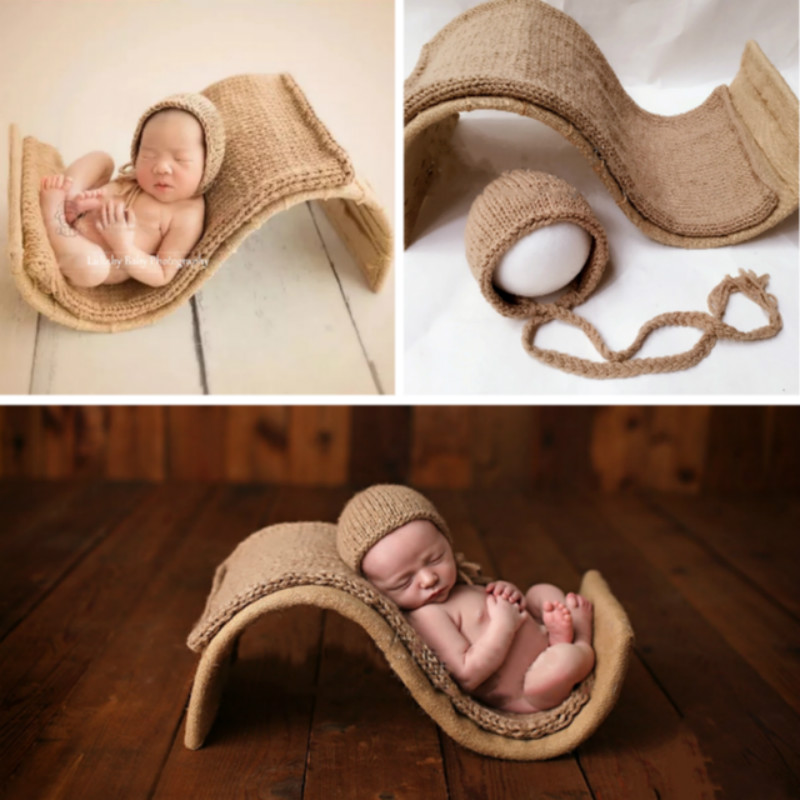 Newborn Photography Props S Shape Baby Posing Props Infantil Photo Shoot Container Retro Creative Props Woolen Blanket Baby Hat
