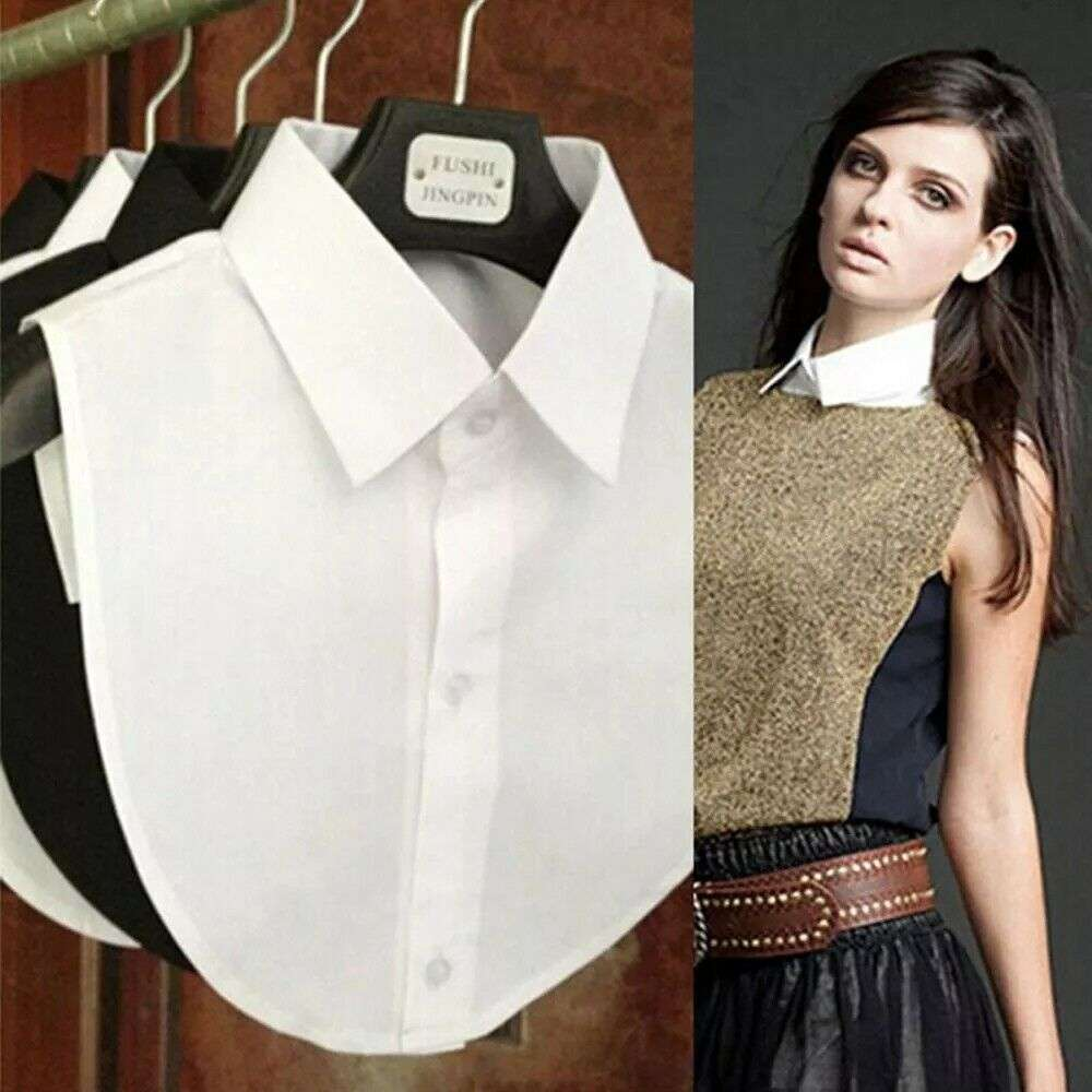 Shirt Collar Blouse Clothes-Accessories Detachable Vintage Women Lapel Cotton Top