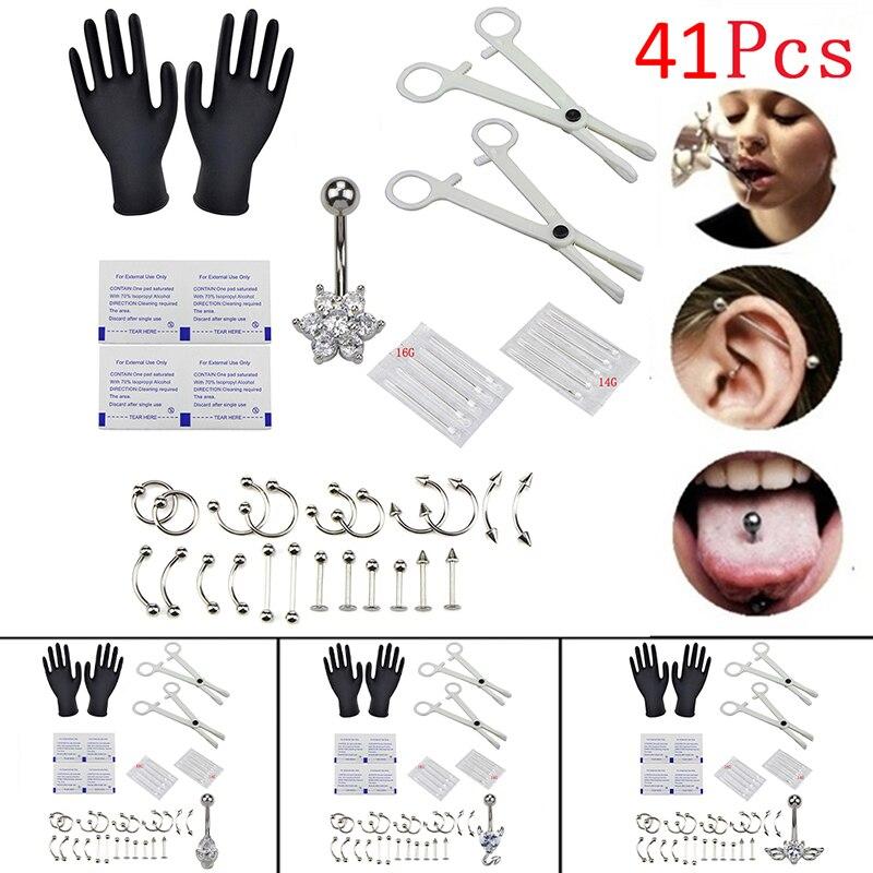 1 conjunto 14g 16g tong anel neus wenkbrauw lippen septo tang piercing naalden lichaam sieraden corpo piercing conjuntos de kits sieraden