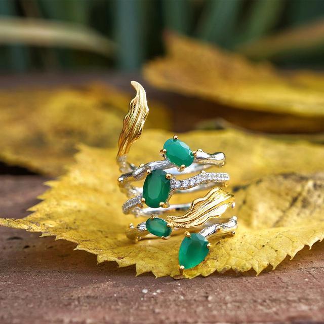 GEMS בלט 2.26Ct טבעי ירוק אגת חן אצבע טבעות 925 סטרלינג רסיס אופנה להקת טבעת לנשים מתנות