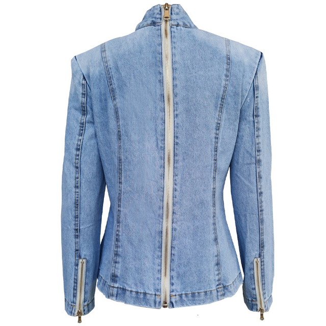 TWOTWINSTYLE Patchwork Bow Denim Women's Jacket Stand Collar Long Sleeve Vintage Ruched Jackets For Female Fashion Clothing 1