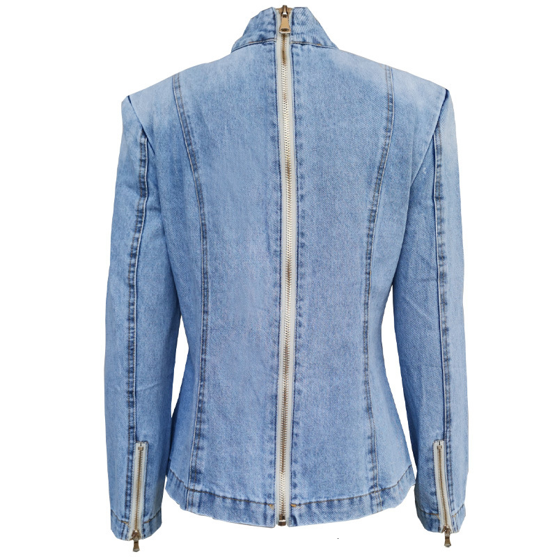 Closeout DealsTWOTWINSTYLE Women's Jacket Clothing Patchwork Ruched Female Vintage Fashion Denim Stand-Collar