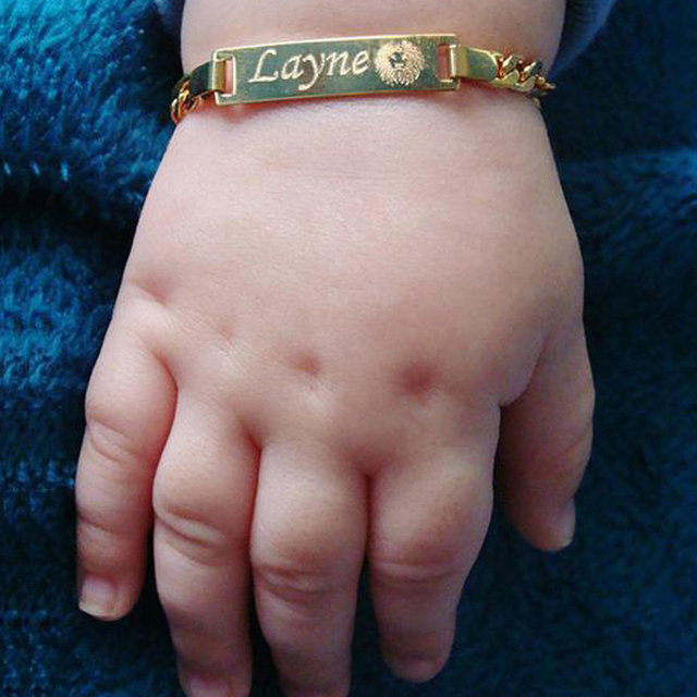 Baby Name Bracelet Figaro Chain Smooth Bangle Link Gold