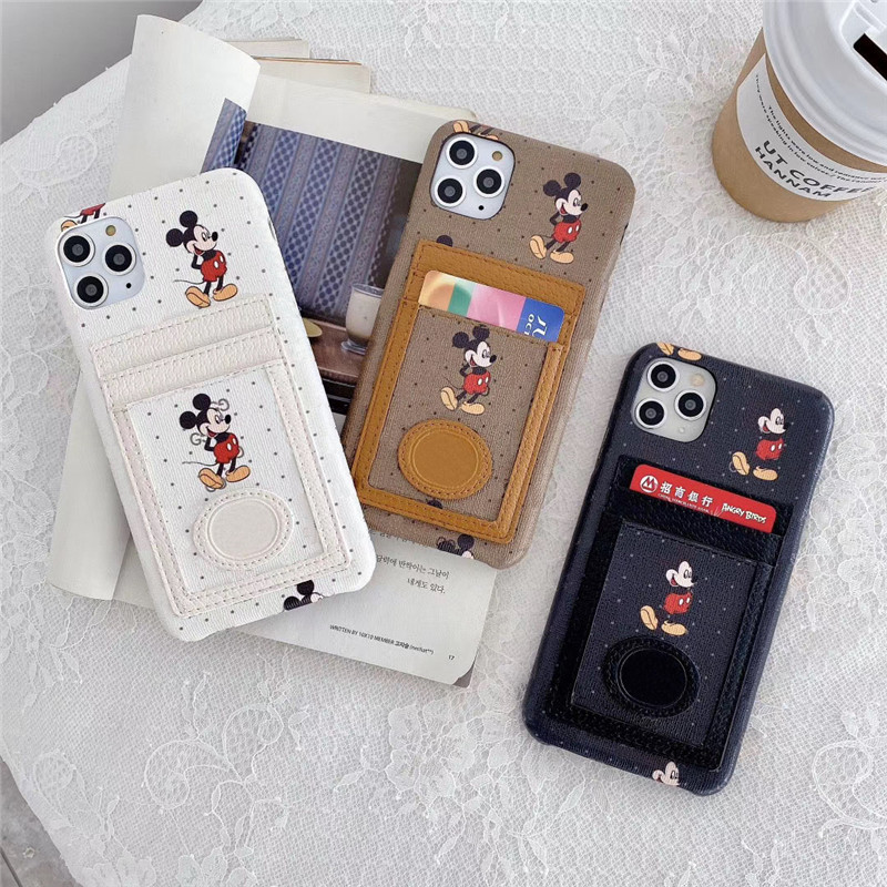 Italy luxury fashion Brand cartoon <font><b>Mickey</b></font> card pocket phone case for <font><b>iPhone</b></font> 11 pro max xs cover for <font><b>iPhone</b></font> 6 7 8 Plus XR <font><b>coque</b></font> image