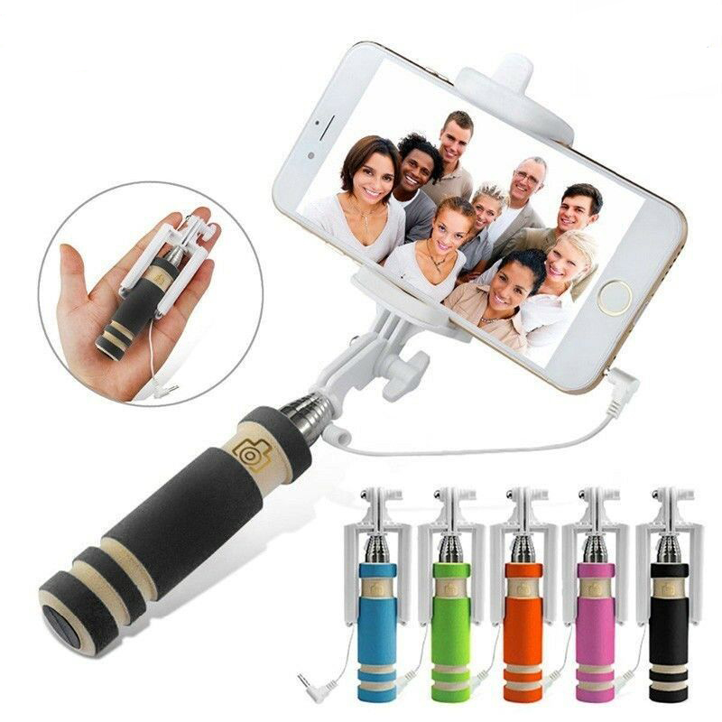 Super Mini Built-in Shutter Wireless Selfie Stick Handheld Monopod Extendable + Mount Holder For iPhone Samsung Phones Camera image