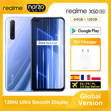 Versão global realme x50 x 50 5g smartphone 8gb 128gb snapdragon 765g 6.57 '120hz ultra display 48mp quad câmeras traseiras 30w carga