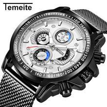 Temeite белые черные кварцевые часы из нержавеющей стали с сеткой