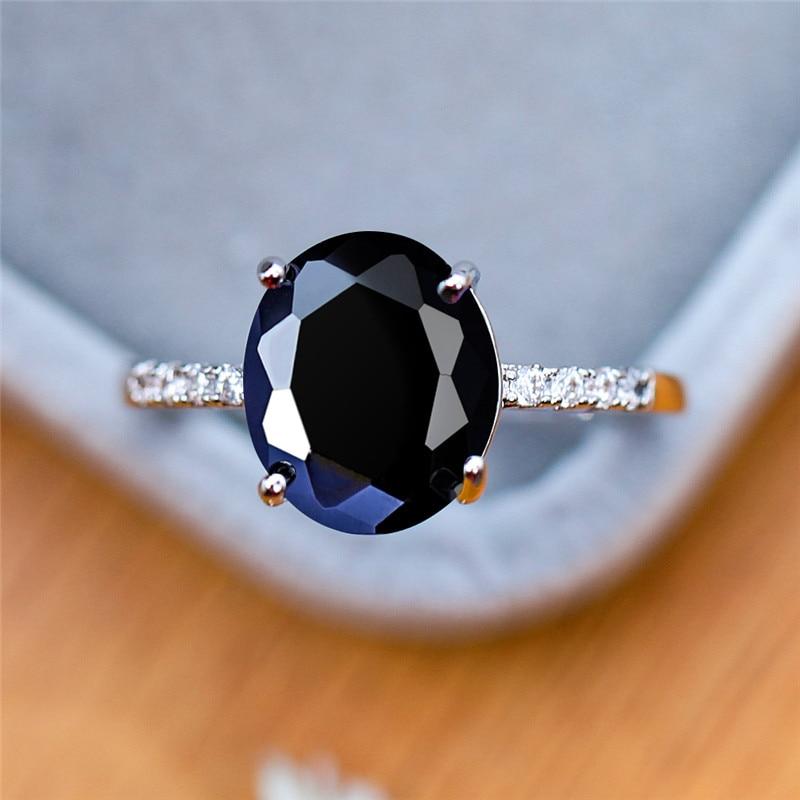 Elegante Weibliche Blau Lila Schwarz Stein Ring Vintage Liebe Oval Zirkon Engagement Ring Silber Farbe Hochzeit Ringe Für Frauen