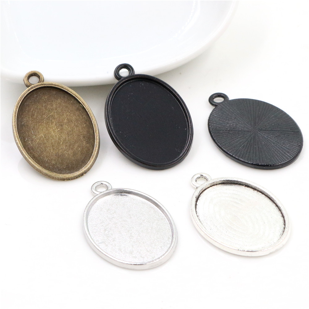 10pcs/Lot 18x25mm Inner Size 5 Colors Plated One Sided Single Hanging Simple Style Cameo Base Setting Charms Pendant Tray