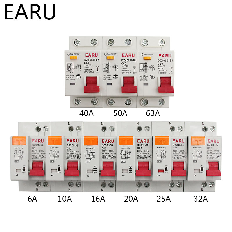 H285175cc1d644492983d64ec3d8bb860D - DZ30L DZ40LE EPNL DPNL 230V 1P+N Residual Current Circuit Breaker With Over And Short Current  Leakage Protection RCBO MCB 6-63A