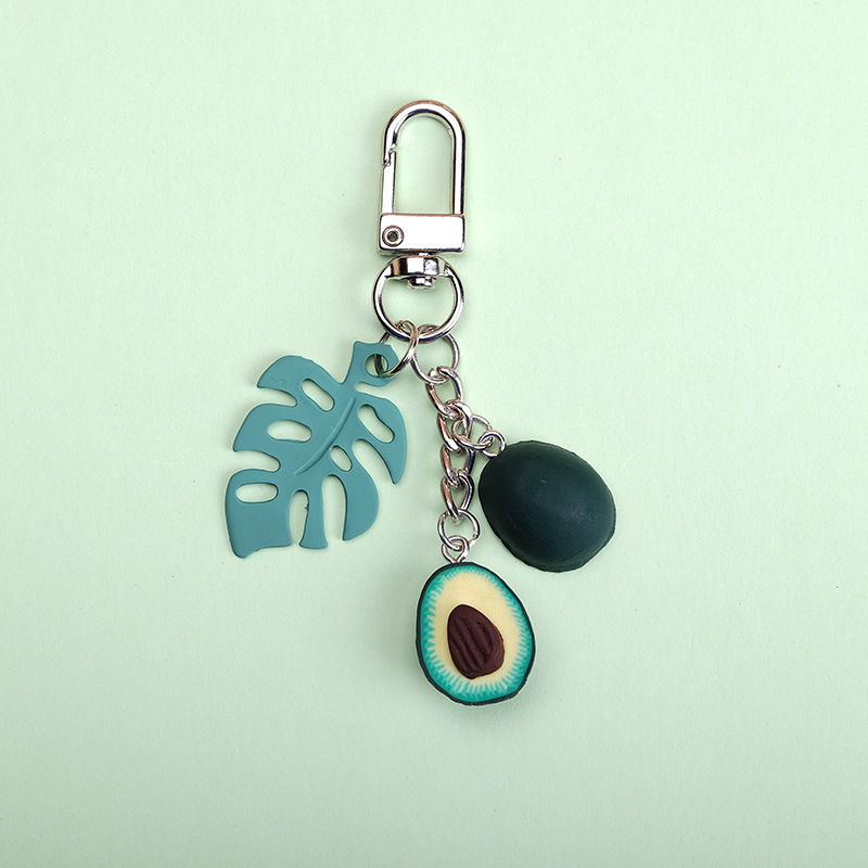 2019 New Simulation Fruit Avocado Heart-shaped Keychain Key Ring Fashion Jewelry Gift For Women