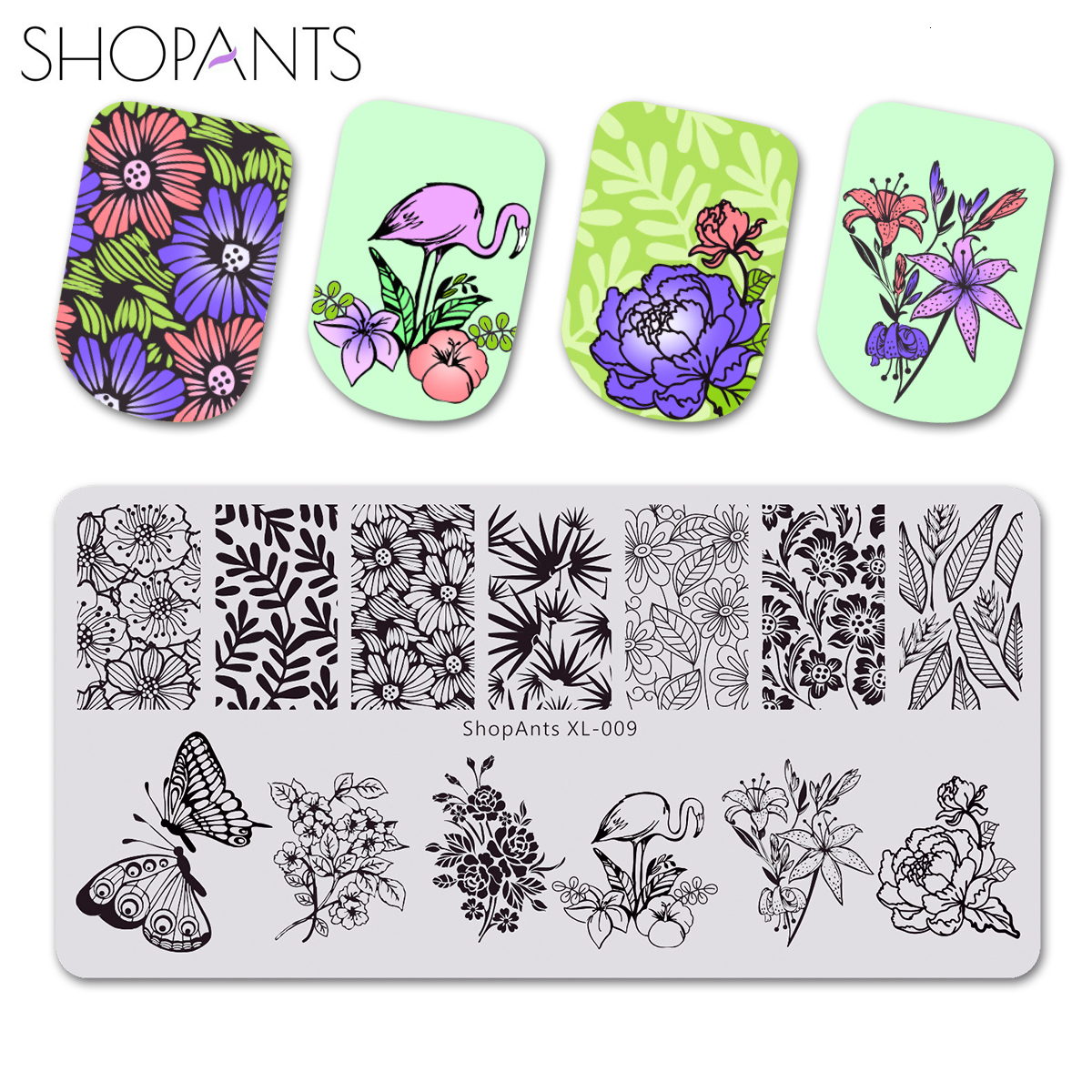 ShopAnts Stamping Plates Nail Art Butterfly Leave Rose Flower Plants Style Printing Stainless Steel Nail Stamping Template Mold