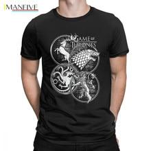 Game Of Thrones T-Shirt Four House House Stark Targaryen Lannister T Shirt Man's Beach Tops Casual Round Neck Cotton Tee Shirt цена и фото