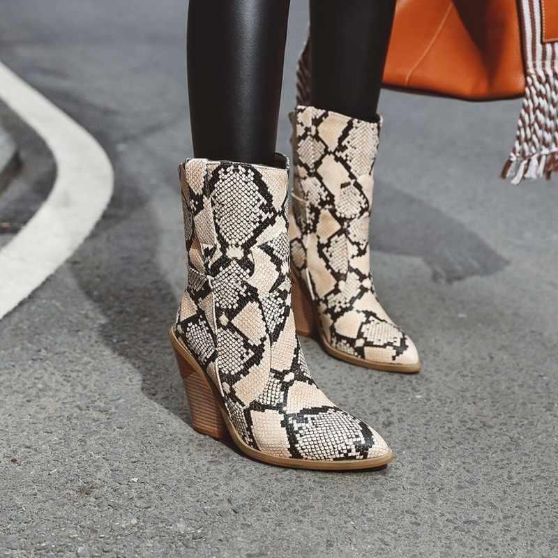 Gothic Blok Schoen Hoge Hak Enkellaarsjes Chunky Cowboy Laarzen Voor Vrouwen Leopard Schoenen Winter Zwart Wit Cowgirl Laarzen Vrouw