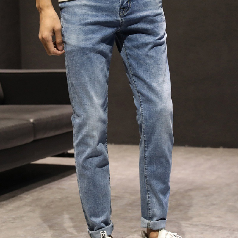 2019 Spring MEN'S Stretch Jeans Slim Fit Versatile Youth Trend Casual Blue And White Korean-style PENCIL PANTS