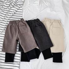 Зимние детские брюки новинка поддельные двухкомпонентные бархатные