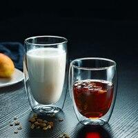 1 pz doppia tazza di vetro caffè tazza di latte trasparente tazza isolata Bar casa 80/250/350/450ml tazza di succo di frutta creativo Whisky Brandy