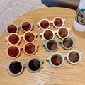 Детские цветные Мультяшные круглые солнцезащитные очки в форме медведя Модные Винтажные Солнцезащитные очки для мальчиков и девочек с УФ-з...