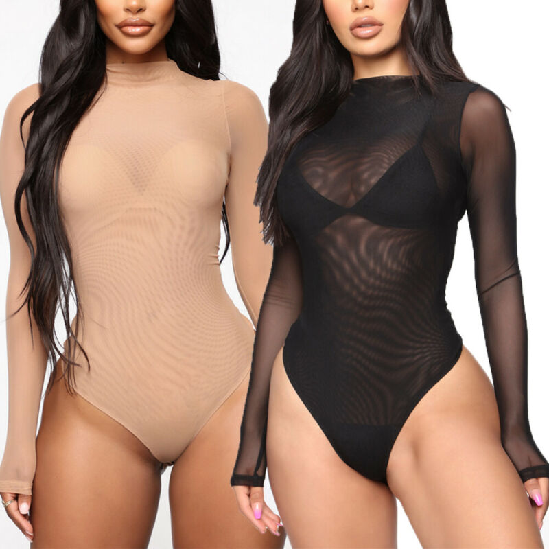 2019 Mesh Bodysuit Romper Bodycon Jumpsuit Turtleneck Skinny Body Suit Transparent New Women Sexy Body Clothing Sunsuit Jumpsuit