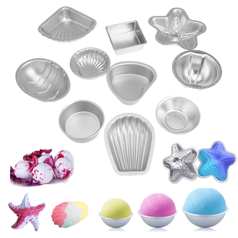 2Pcs/Pair Aluminium Alloy 3D Bath Bomb Molds DIY Tool Salt Ball Homemade Crafting Mould Semicircle Sphere Shell Bath Accessories