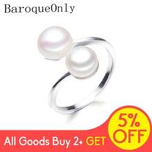 Anel de pérolas duplas baroqueapenas, prata interamarrada, anéis de pérola doce, presente de casamento 925, para mulheres