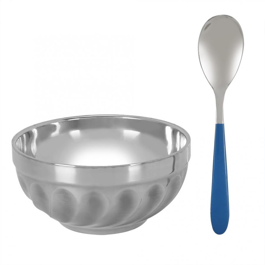 Bowls 304 Stainless Steel Household Noodles Soup Bowl Food Fruit Container with Spoon Fruit Plate Bowl