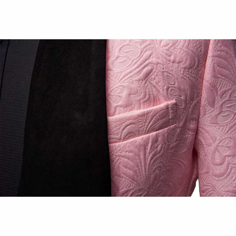 SHENRUN Mens แฟชั่นผ้าคลุมไหล่ 3 ชิ้นชุดสีชมพูสีแดงสีฟ้าสีขาวงานแต่งงานชุดเจ้าบ่าวคุณภาพสูง Jacquard จัดเลี้ยง tuxedo