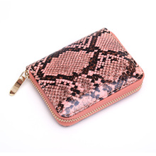 Serpentine Pattern Wallet Leather Snake Print Mini Purse SF