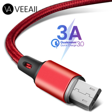 VEEAII 3A Data Cable Charger Micro USB  for Samsung S8 S9 Xiaomi Android Charging 1M 2M 0.25M Mobile Phone Wire Cord