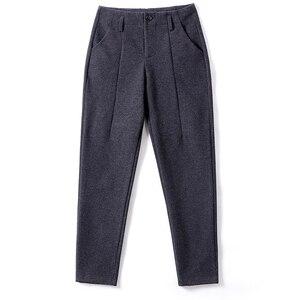 Image 5 - Harem Pants Women 2019 Autumn Winter Vintage Plaid Gray High Waist Female Trousers S~3XL Casual Ankle length Woman Woolen Pants