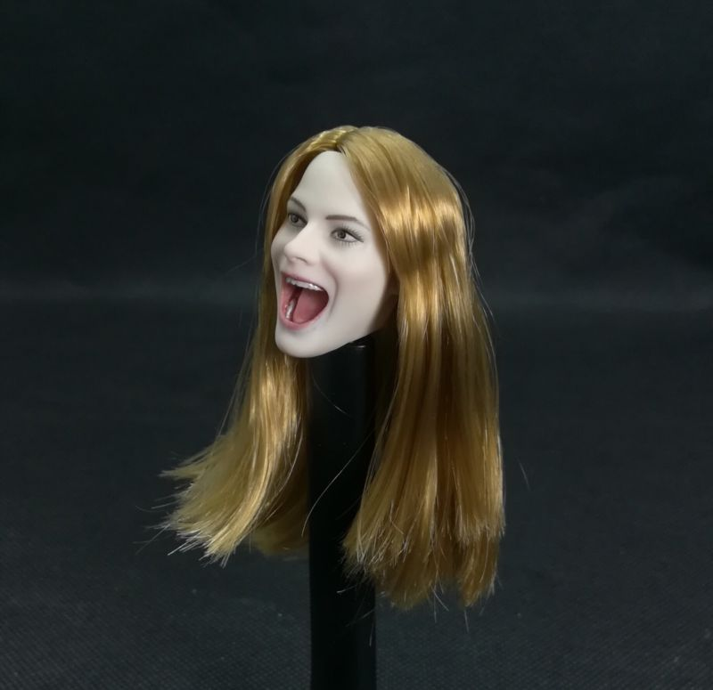 1//6 Scale Red Hair Female Head Sculpt Smile Version Head Carving Fit 12/'/' Doll