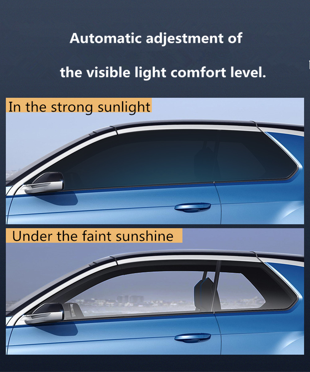 Sunice צבע שונה VLT73 % ~ 43% גמגום שמש גוון סרט Photochromic מעבר IR שמש חכם בקרת סרט אביזרי רכב