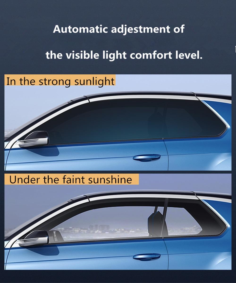 Sunice Colore cambiato VLT73 % ~ 43% Polverizzazione Catodica solare tinta Fotocromatiche Pellicola di Transizione Solare IR di controllo Intelligente accessori auto Pellicola