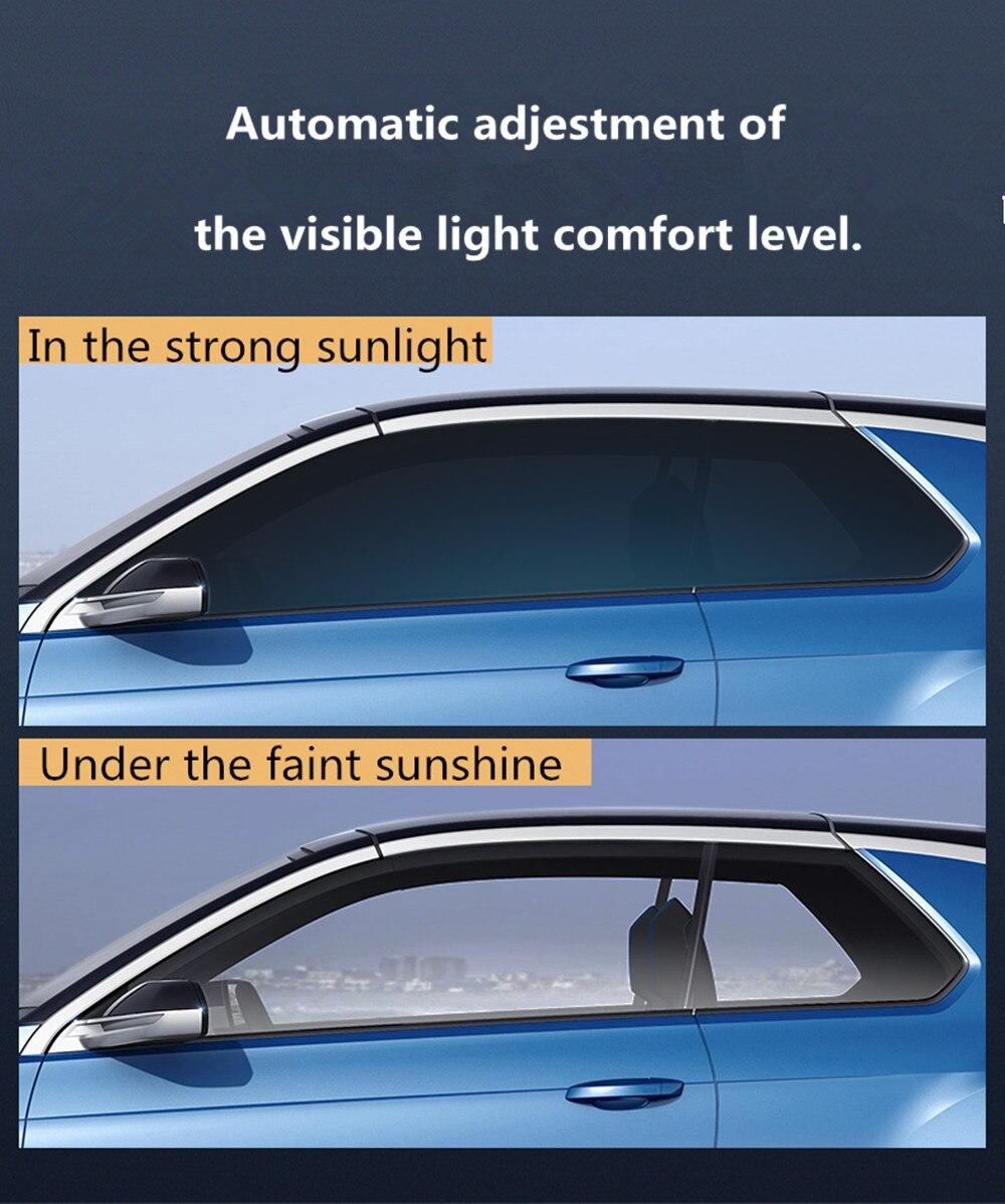 Sunice couleur changé VLT73 % ~ 43% Sputter teinte solaire Film photochromique transitoire IR solaire Film de contrôle intelligent accessoires de voiture