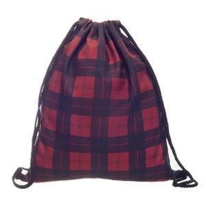 British Style 3D Print Drawstring Bag Tartan Casual Mochila Cuerda Harajuku Drawstring Backpack Women Men Modis Sport String Bag